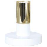 DUO lampefot i tre, E27, hvit med messingfarget fatning