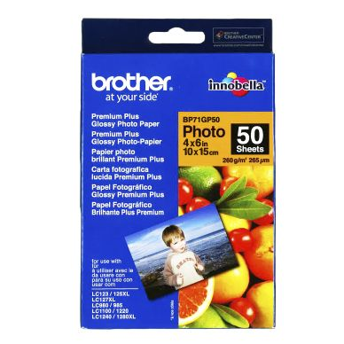 BROTHER Fotopapper Glossy 10x15 50 ark 260g BP71GP50 Motsvarar: N/A