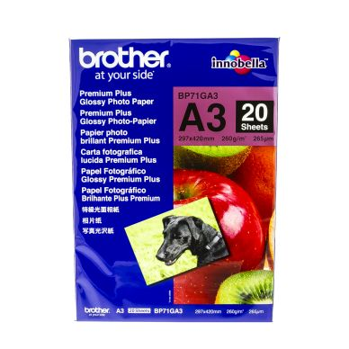 BROTHER Fotopapper Glossy A3 20 ark 260g BP71GA3 Motsvarar: N/A