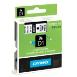 Tape Dymo D1 9 mm sort på hvidt