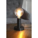 DUO lampfot i trä, E27, svart med svart lamphållare