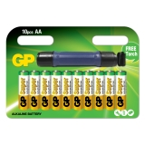 GP Super Alkaline AA 10-pack + ficklampa