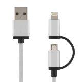 DELTACO USB synk/laddkabel 1 m, Lightning/USB micro-B, MFI