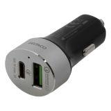 DELTACO-pikalaturi autoon USB-C ja -A-liitännöillä