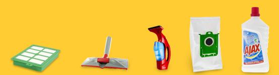 HEPA suodatin, lattiasuulake, ikkunankuivain, pölypussi ja yleispuhdistusaine