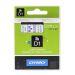 Märkband Dymo D1 12 mm, blå på transp