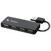 DELTACO USB 2.0 liitin, 4xTyyppi A, naaras, musta