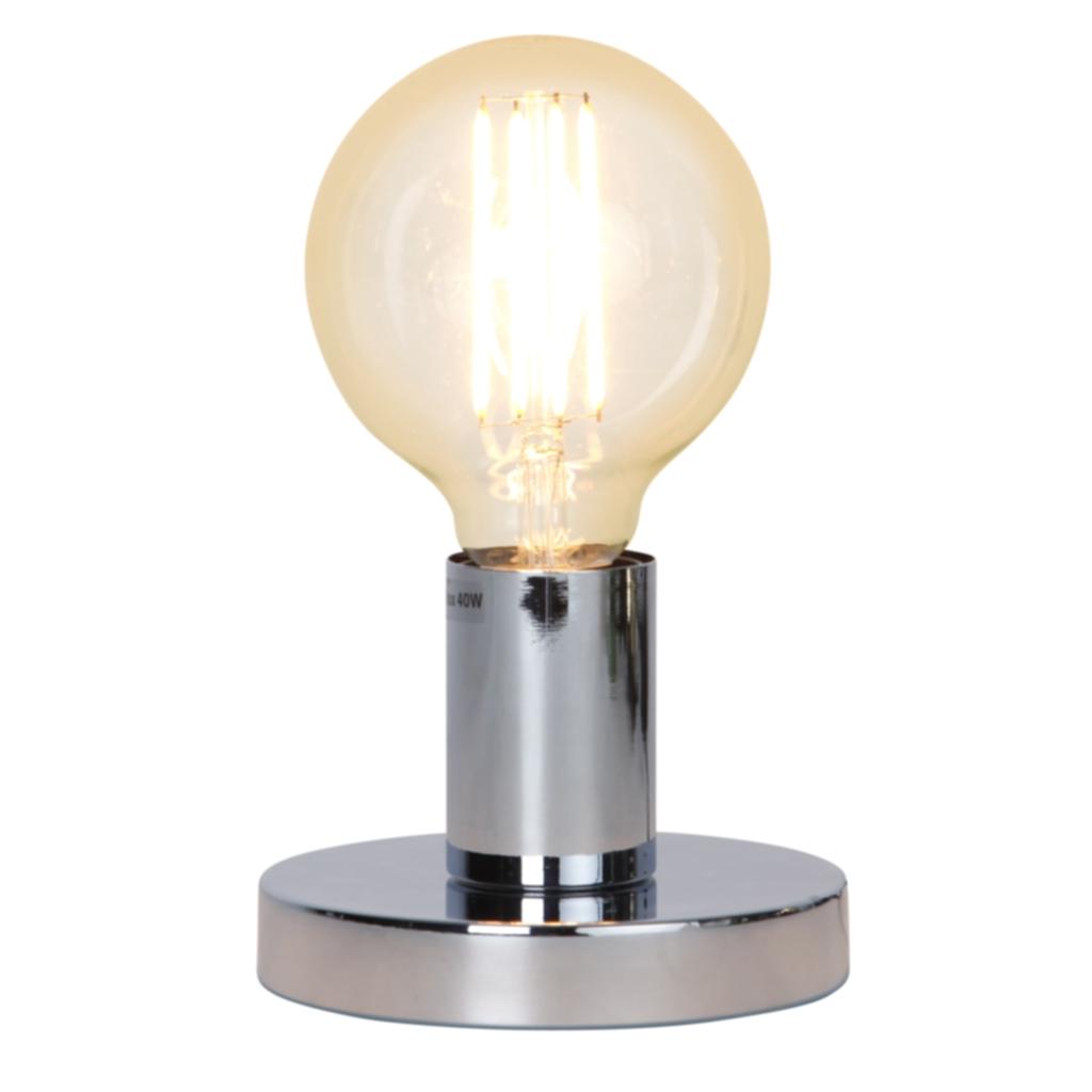 Star Trading GLANS lampefot i metall, E27, 8,5 cm, krom