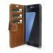 Plånboksfodral i läder, Galaxy S7 Edge, Brun