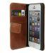 Plånboksfodral i läder, iPhone SE/5S/5, Brun