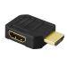 DELTACO HDMI-adapter, 19-pin hane till hona, vinklad