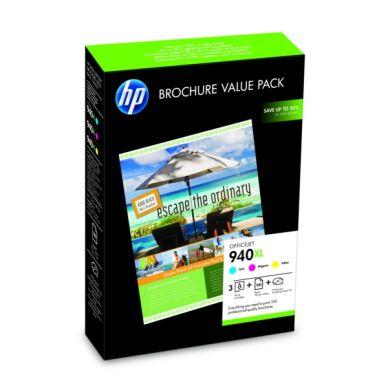 HP Broschyrpaket: Bläckpatroner (C/M/Y) + 100 A4-papper 180 g