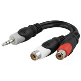 DELTACO multimedia-adapter 3,5 mm ha til 2 x RCA ho