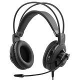 Deltaco headset, sluten, 2x3,5mm kabel m volymkontroll