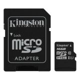 Kingston 16GB microSDHC Klass 10 UHS-I 45MB/s läs, adapter