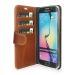 Plånboksfodral i läder, Galaxy S6 Edge, Brun