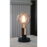 DUO lampfot i trä, E27, svart med kopparfärgad lamphållare