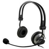 DELTACO headset med mikrofon og volumkontroll 2m kabel