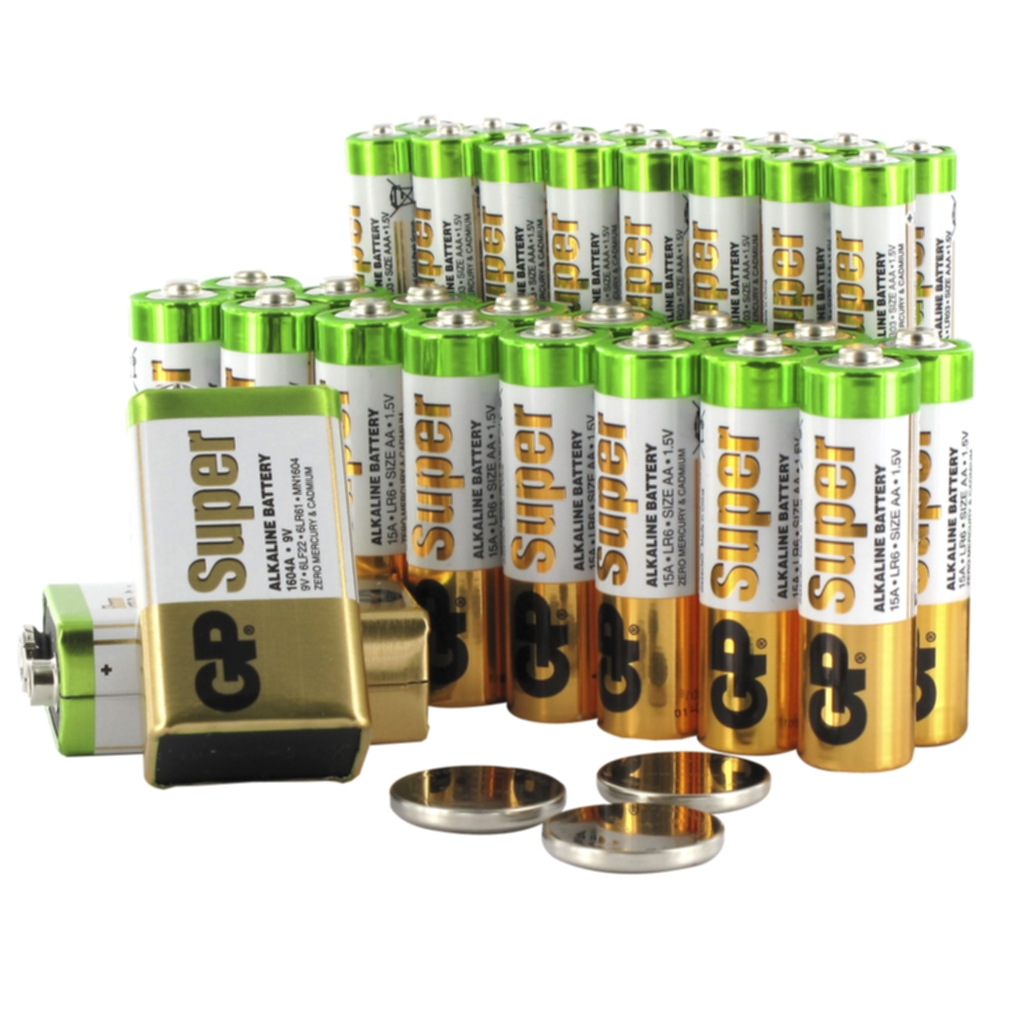 GP BATTERIES Batteripakke, 37 stk batterier for hjem og kontor.