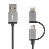 DELTACO USB synk/laddkabel 2 m, Lightning/USB micro-B, MFI