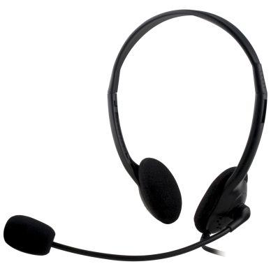 DELTACO DELTACO, headset med mikrofon og volumkontroll 2m kabel