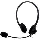 DELTACO, headset med mikrofon og volumkontroll 2m kabel
