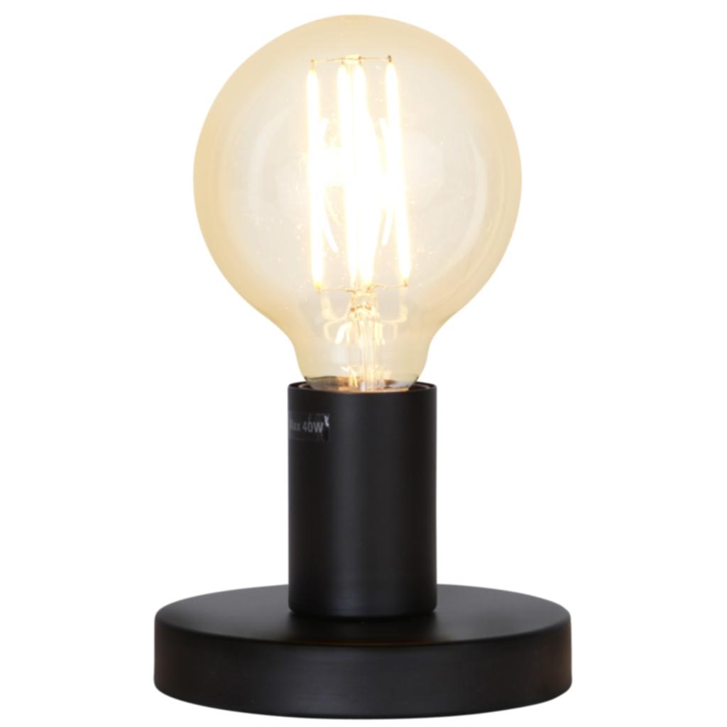 Star Trading GLANS lampefot i metall, E27, 8,5 cm, svart