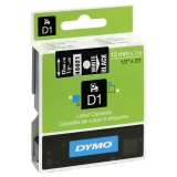Tape Dymo D1 12 mm vit på svart