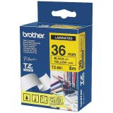 Tape Brother TZE661 36 mm, svart på gul