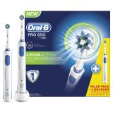 Oral-B Pro 650 CrossAction Eltandborste, 2 st