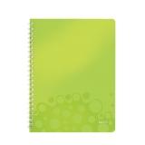 Notesblok WOW PP A4 lin.80ark m/hul grøn
