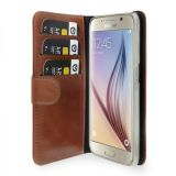 Plånboksfodral i läder, Galaxy S6, Brun