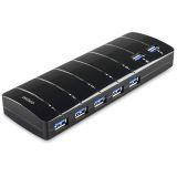 DELTACO USB 3.0 hubb, 7xTyp A ho, nätadapter, svart