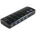 DELTACO USB 3.0 hub, 7xType A hun, nettadapter, sort
