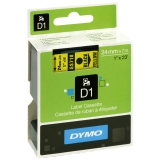 Tape Dymo D1 24 mm, sort på gul