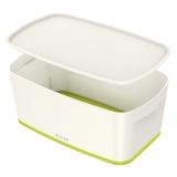 Förvaringslåda MyBox Small med lock vit/grön