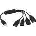 DELTACO, USB 2.0 hub, 4xType A, blekksprut kabel 0,15m, sort