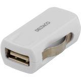 DELTACO billaddare, 1A, 1x USB Type A, 12-24V DC input