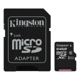 Kingston 64GB microSDXC Klass 10 UHS-I 45MB/s läs, adapter