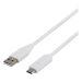 DELTACO USB-Kabel 2.0, USB-C - USB-A, 2 meter, vit
