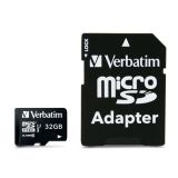 Verbatim 32GB MicroSDHC Minneskort med adapter, Class 10