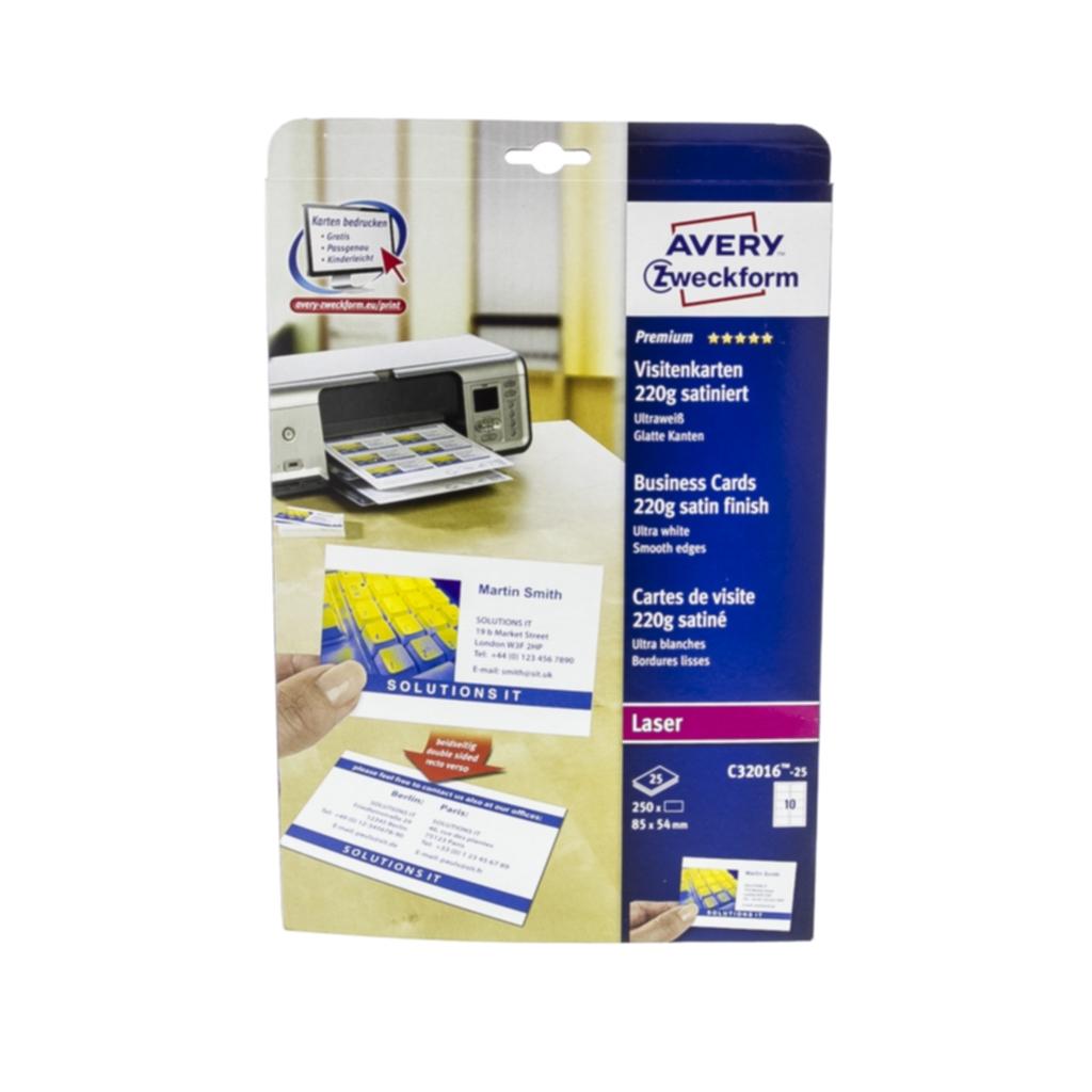 Avery Visittkort hvite, 25 ark, 10 visittkort/ark, 85x54mm, 220g